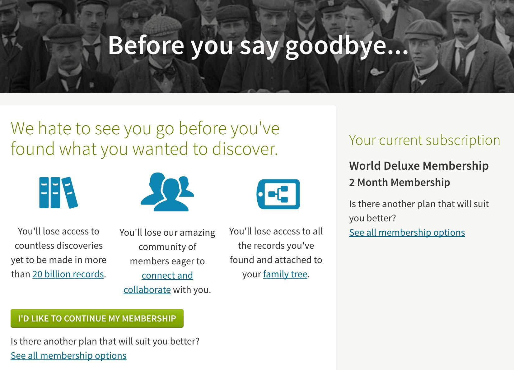 Ancestry goodbye page churn