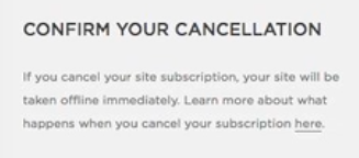 Squarespace cancellation copy